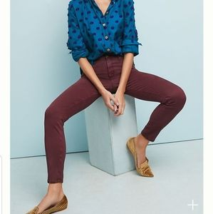 Anthro: AG Abbey Ankle Mid-Rise Sateen Jeans Pants